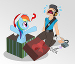 cap crossover dog_tag gonzahermeg hat headphones lock present rainbow_dash sad santa_hat scout team_fortress_2 tears