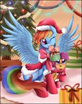 absurdres boots border christmas cloak hat highres present pridark rainbow_dash santa_hat scootaloo