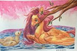 duck fluttershy highres traditional_art water yuyusunshine