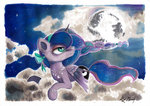 bow cloud moon moonlight-ki necklace nighttime princess_luna stars traditional_art