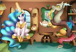 absurdres book discord fluttershy's_cottage highres magic pridark princess_celestia tea teacup teapot