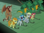 apple_bloom background_ponies crossover dalapony derpy_hooves g1 golden_harvest midnight_castle vinyl_scratch