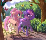 bat_pony butterfly flowers garden highres kirionek original_character trees