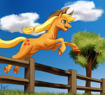 absurdres applejack fence highres jumping tauts05 tree
