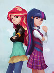 ajvl equestria_girls highres humanized sunset_shimmer twilight_sparkle