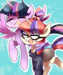 bag book clothes glasses highres moondancer princess_twilight sion-ara twilight_sparkle