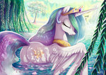 adlynh bathing petals princess_celestia swimming water willow