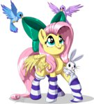 angel bird bow fluttershy highres sirzi socks