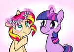 cuteosphere flower_crown princess_twilight shipping sunlight sunset_shimmer twilight_sparkle