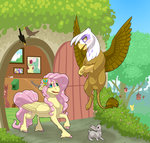 angel bird butterfly flowers fluttershy fluttershy's_cottage gilda highres jackiebloom mouse squirrel tree