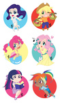 applejack chibi fluttershy humanized main_six pinkie_pie rainbow_dash rarity twilight_sparkle yesi-chan