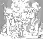 christmas christmas_tree derpy_hooves dinky_hooves grayscale hat johnjoseco party_hat present santa_hat sketch time_turner