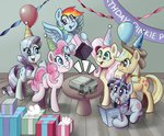 applejack balloon fluttershy hat highres main_six nintendo party_hat pinkie_pie present rainbow_dash rarity solarsourced twilight_sparkle video_game