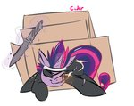 cardboard_box catsuit ciderarts cigarette future_twilight knife magic twilight_sparkle