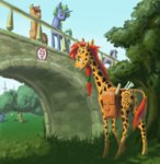 adeptus-monitus bag ball bridge giraffe original_character scroll tree