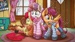absurdres apple_bloom boots clothes cutie_mark_crusaders highres jacket ohemo scarf scootaloo snow sweetie_belle winter