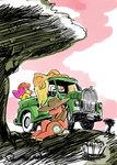 apple_bloom applejack big_macintosh docwario sleeping truck