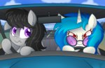 car glasses highres mirror octavia_melody seat_belt sunglasses vinyl_scratch wildberry-poptart