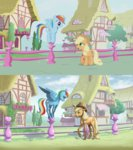adeptus-monitus applejack rainbow_dash screencap_redraw