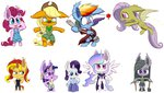 anthro applejack chibi fluttershy heir-of-rick highres main_six pinkie_pie princess_celestia rainbow_dash rarity sunset_shimmer twilight_sparkle