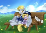 bench cap derpy_hooves dinky_hooves hat highres juice_box mail mailbag pridark uniform