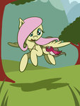bird flutterluv fluttershy highres trees
