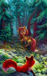 absurdres forest fox highres holivi original_character tree