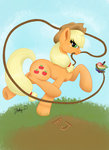 applejack apples highres lasso rope theluminescence zap_apples
