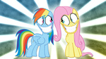 :gonk: cripplergfx fluttershy rainbow_dash teeth wallpaper