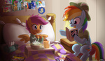 apple_bloom bed book costume cutie_mark_crusaders i_shall_not_use_my_hooves_as_hands johnjoseco princess_luna rainbow_dash scootaffection scootaloo sick soup sweetie_belle x-men