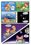 apple_bloom applejack comic costume desk highres snorkel space space_suit swimming underwater vicse