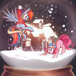 hat house mirroredsea pinkie_pie rainbow_dash snow snowball snowball_fight snowglobe snowing winter