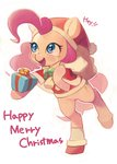 aruurara christmas coat hat highres pinkie_pie present santa_hat