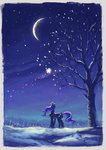 moon nighttime plainoasis princess_luna snow stars tree winter