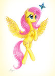 butterfly fluttershy highres theflyingmagpie traditional_art