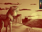 absurdres cliff highres sea sunset_shimmer thebeckmanator