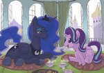 canterlot cup highres pillow princess_luna starlight_glimmer tea teacup teapot yanamosuda