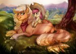apple_bloom applejack bandana cigarscigarettes earthsong9405 horselike tree
