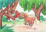applejack autumn_blaze kirin sagastuff94 traditional_art trees