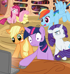 applejack computer fluttershy from-yesterday-xx looking_at_the_place_which_shall_not_be_named main_six mouse pinkie_pie rainbow_dash rarity the_fucking_fandom twilight_sparkle