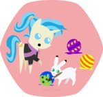 allie_way bowling_ball easter_egg hare haretrinity paintbrush painting