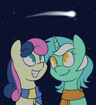 best_friends highres lyra_heartstrings lyrabon princessnoob scarf shipping shooting_star sweetie_drops