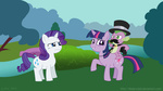 blade-zulah hat look_at_my_horse mustache parody rarity spike tophat twilight_sparkle
