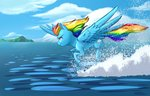 flying highres notaletolivefor rainbow_dash water
