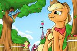 apple_bloom applejack apples bandana highres nobody47 rainbow_dash