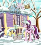 broom inuhoshi-to-darkpen magic snow starlight_glimmer the_great_and_powerful_trixie tree