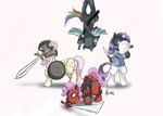 costume crossover deadpool fluttershy helmet knife marvel_comics ninja pinkie_pie rainbow_dash rarity skyrim spy sword team_fortress_2 the_elder_scrolls tnu weapon