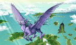 altarior flying highres island scenery sea seaspray
