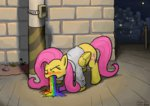 clothes fizzbuzz_said_it_was_funny_and_that_makes_it_ok fluttershy rainbow sick vomit weldercelestia