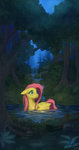 1jaz absurdres fluttershy forest highres pool stream trees water